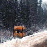 Автобус со школьниками улетел в кювет
